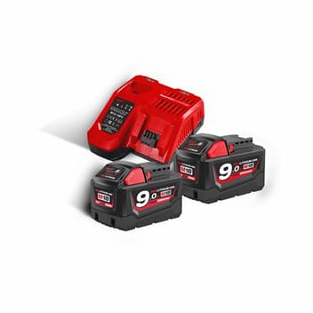 MILWAUKEE M18 NRG-902 BATTERIPAKKE 2x9 AH MED LADER