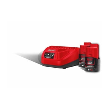 MILWAUKEE M12 BATTERIPAKKE 3AH X2 MED LADER