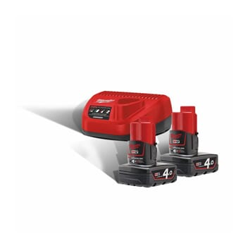 MILWAUKEE M12 BATTERIPAKKE 2x4AH MED LADER
