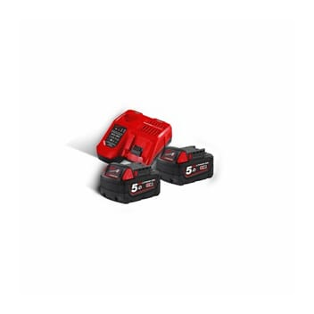 MILWAUKEE M18 BATTERIPAKKE 2x5 AH MED LADER
